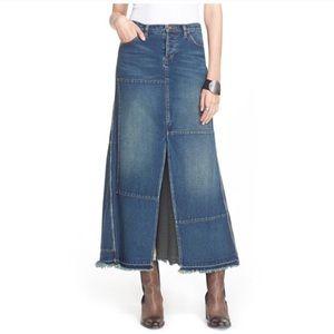 {Free People} Patchwork Denim Maxi Skirt Sz 26